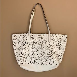 Chaps White Flaux Leather & Gold Tote